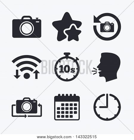 Photo camera icon. Flip turn or refresh symbols. Stopwatch timer 10 seconds sign. Wifi internet, favorite stars, calendar and clock. Talking head. Vector
