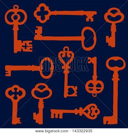 Vintage key silhouettes composition. Illustration in vector format
