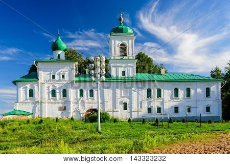 Pskov, Russia - July 30, 2016: Mirozhsky monastery on the banks of the Great river.