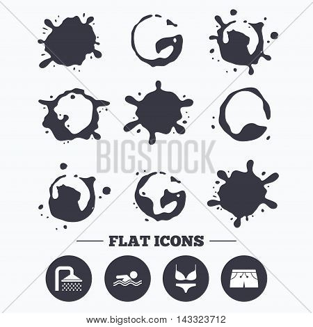 Paint, coffee or milk splash blots. Swimming pool icons. Shower water drops and swimwear symbols. Human swims in sea waves sign. Trunks and women underwear. Smudges splashes drops. Vector