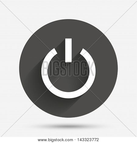 Power sign icon. Switch on symbol. Turn on energy. Circle flat button with shadow. Vector