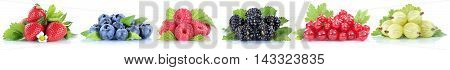 Berries Strawberries Collection Blueberries Red Currant Berry Fruits In A Row Isolated On White