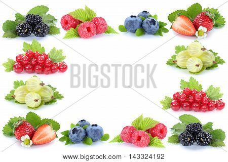 Berries Strawberries Blueberries Red Currant Berry Fruits Frame Copyspace Copy Space