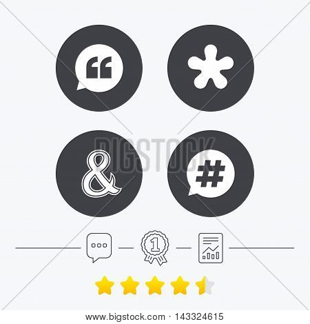 Quote, asterisk footnote icons. Hashtag social media and ampersand symbols. Programming logical operator AND sign. Speech bubble. Chat, award medal and report linear icons. Star vote ranking. Vector