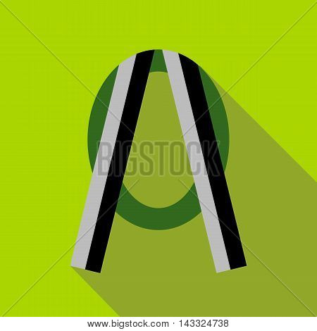 Funeral frame with ribbon icon in flat style with long shadow. Photo symbol