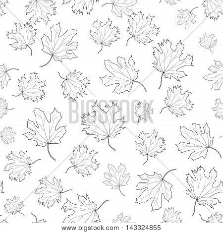 Black and white seamless pattern of maple leaves of various sizes