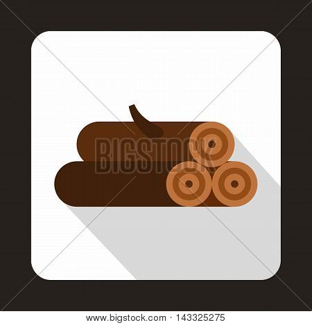 Logs of trees icon in flat style with long shadow. Felling symbol