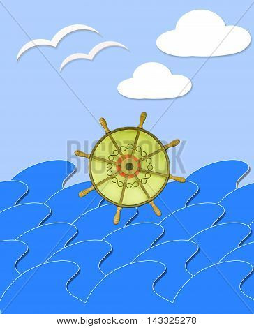 illustration of marine waves with steering-wheel mews and white clouds