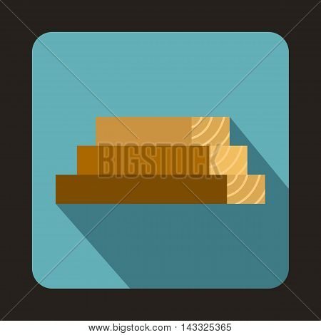 Wooden boards icon in flat style with long shadow. Felling symbol