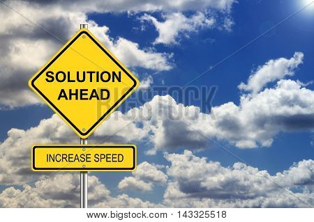 Solution ahead road sign business concept background