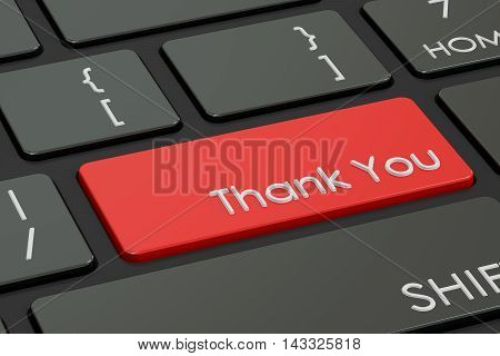 thank you concept red hot key on keyboard. 3D rendering