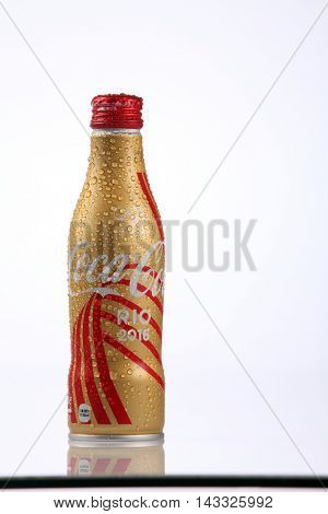Kuala Lumpur,Malaysia,8th Aug 2016,collection of  Coca Cola olympic rio 2016 ,aluminium bottle. Coca Cola is the official product