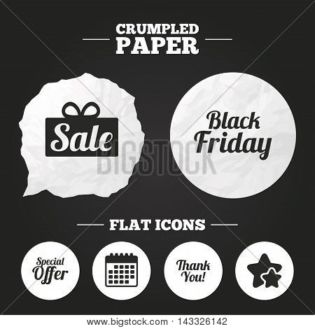 Crumpled paper speech bubble. Sale icons. Special offer and thank you symbols. Gift box sign. Paper button. Vector