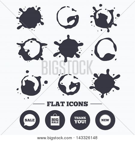 Paint, coffee or milk splash blots. Sale speech bubble icon. Thank you symbol. New star circle sign. Big sale shopping bag. Smudges splashes drops. Vector