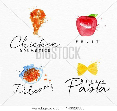 Set of watercolor labels lettering chicken drumstick fruit delicacy italian pasta drawing on watercolor background