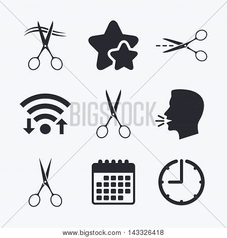 Scissors icons. Hairdresser or barbershop symbol. Scissors cut hair. Cut dash dotted line. Tailor symbol. Wifi internet, favorite stars, calendar and clock. Talking head. Vector