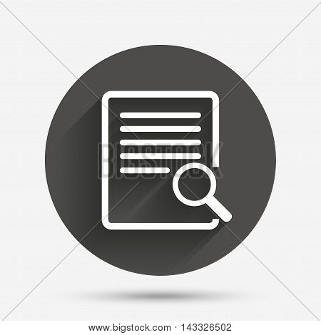 Search in file sign icon. Find in document symbol. Circle flat button with shadow. Vector