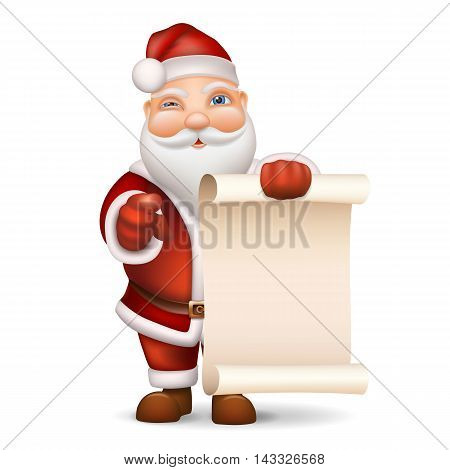 Santa Claus with a list of gifts to buy gifts recalls. Vector realistic illustration in 3D style.