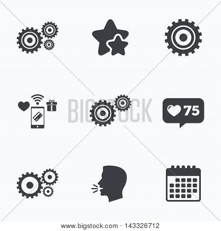 Cogwheel gear icons. Mechanism symbol. Website or App settings sign. Working process performance. Flat talking head, calendar icons. Stars, like counter icons. Vector