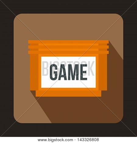 Games floppy disk icon in flat style with long shadow. Play symbol