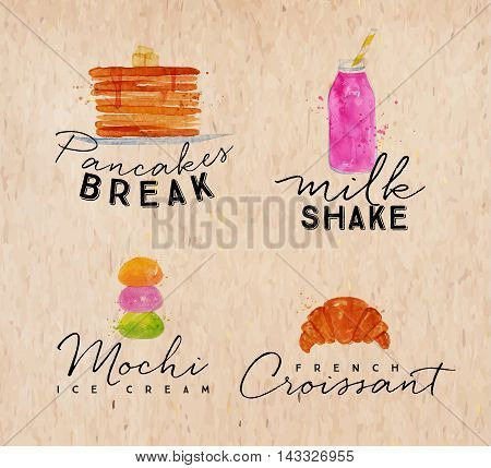 Set of watercolor labels lettering pancakes break milkshake mochi ice cream french croissant drawing on kraft background