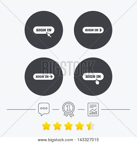 Sign in icons. Login with arrow, hand pointer symbols. Website or App navigation signs. Chat, award medal and report linear icons. Star vote ranking. Vector