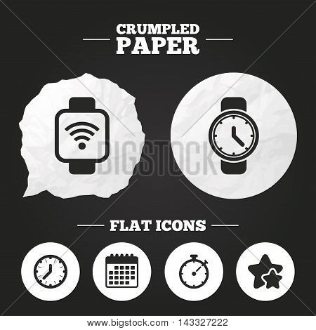 Crumpled paper speech bubble. Smart watch wi-fi icons. Mechanical clock time, Stopwatch timer symbols. Wrist digital watch sign. Paper button. Vector