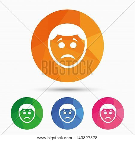Sad face sign icon. Sadness depression chat symbol. Triangular low poly button with flat icon. Vector