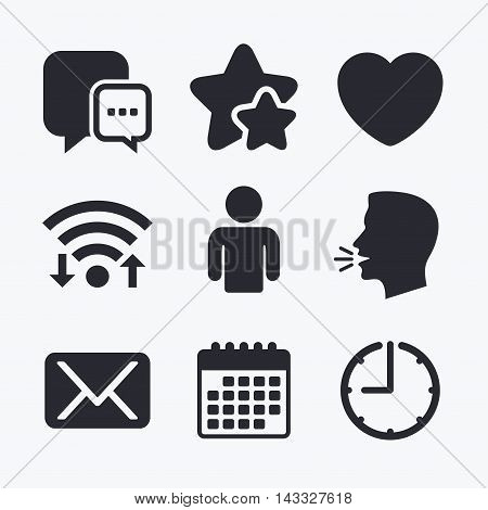 Social media icons. Chat speech bubble and Mail messages symbols. Love heart sign. Human person profile. Wifi internet, favorite stars, calendar and clock. Talking head. Vector