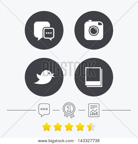 Social media icons. Chat speech bubble symbol. Hipster photo camera sign. Empty photo frames. Chat, award medal and report linear icons. Star vote ranking. Vector