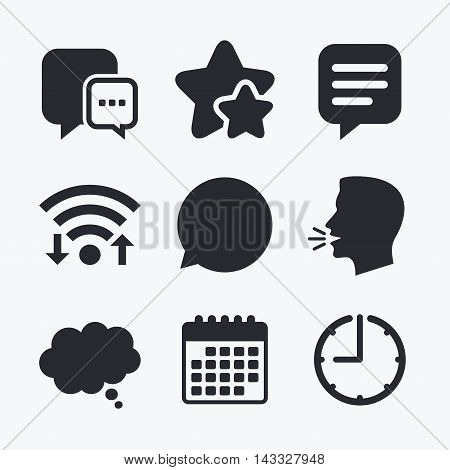 Chat icons. Comic speech bubble signs. Communication think symbol. Wifi internet, favorite stars, calendar and clock. Talking head. Vector