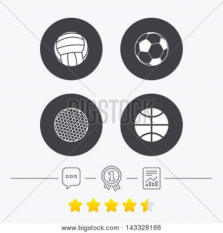 Sport balls icons. Volleyball, Basketball, Soccer and Golf signs. Team sport games. Chat, award medal and report linear icons. Star vote ranking. Vector
