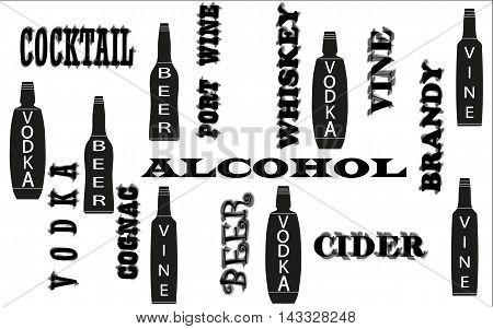 wine cocktail beer  vodka black bottles names vector illustration