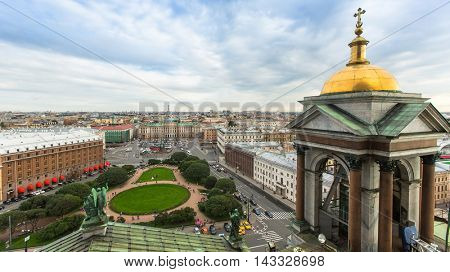 Tower and view from the colonnade of St. Isaac's Cathedral, St.Petersburg, Russia.