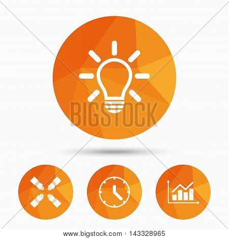 Lamp idea and clock time icons. Graph chart diagram sign. Teamwork symbol. Triangular low poly buttons with shadow. Vector