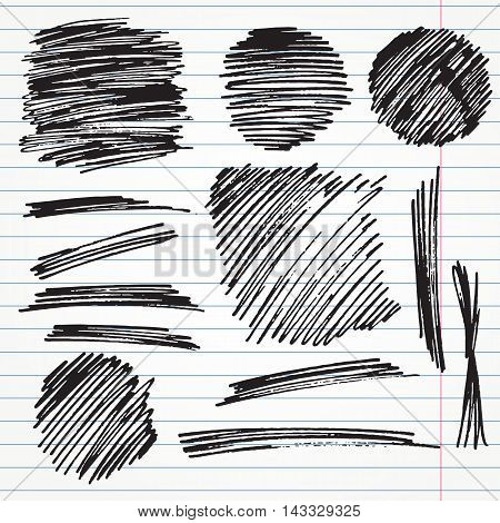set of hand drawn highlighter elements such as underlines, circles and signs