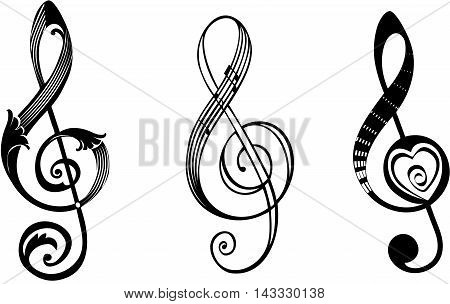 Treble clef in different design ornaments:floral, music notes and heart