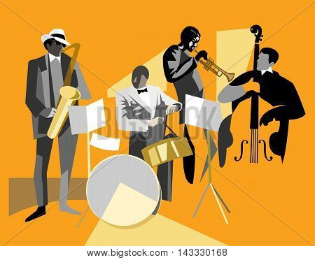 Jazz quartet musicians: saxophonist, drummer, trumpeter, double bass player