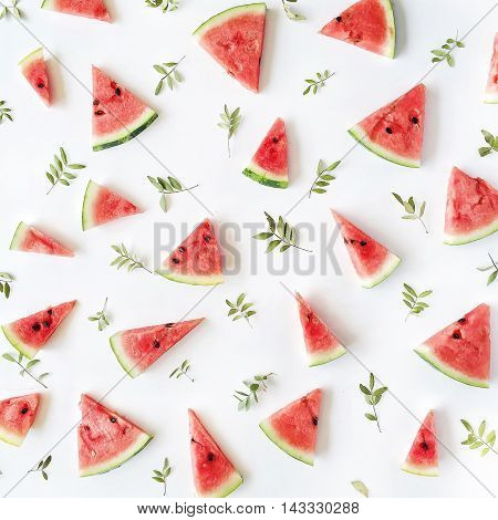 watermelon pieces pattern on white background. flat lay top view