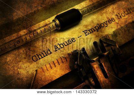 Child Abuse Form On Vintage Typewriter