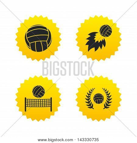 Volleyball and net icons. Winner award laurel wreath symbols. Fireball and beach sport symbol. Yellow stars labels with flat icons. Vector