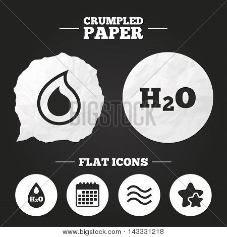 Crumpled paper speech bubble. H2O Water drop icons. Tear or Oil drop symbols. Paper button. Vector