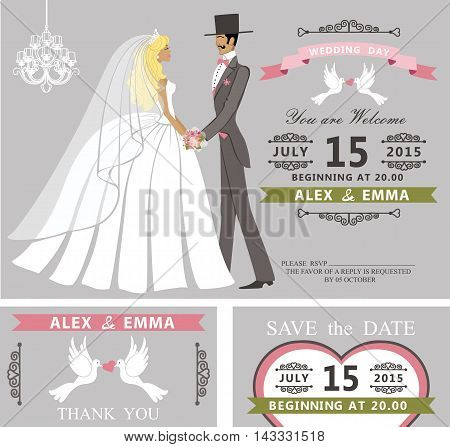 Wedding invitation with Cartoon couple bride and groom.Retro style.Swirling borders vignettes, ribbon, pigeons, chandelier.Design template set, thank you, save date card.Vintage Vector Illustration.