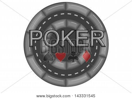 poker casino chip isolated on white background