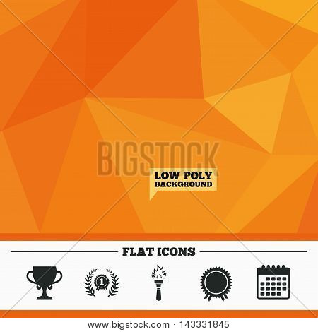 Triangular low poly orange background. First place award cup icons. Laurel wreath sign. Torch fire flame symbol. Prize for winner. Calendar flat icon. Vector