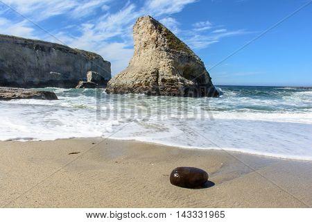 Santa Cruz Shark Fin Cove With Stone On Beach