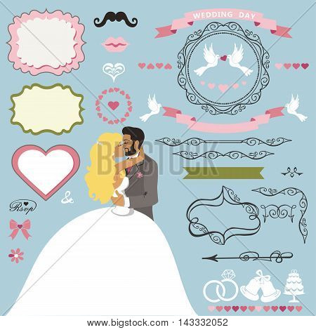Wedding invitation card decor elements set.Cartoon kissing couple bride and groom.Swirling borders, ribbon, frame, icons, heart, label.Design template kit, save date card.Vintage Vector Illustration, flat.