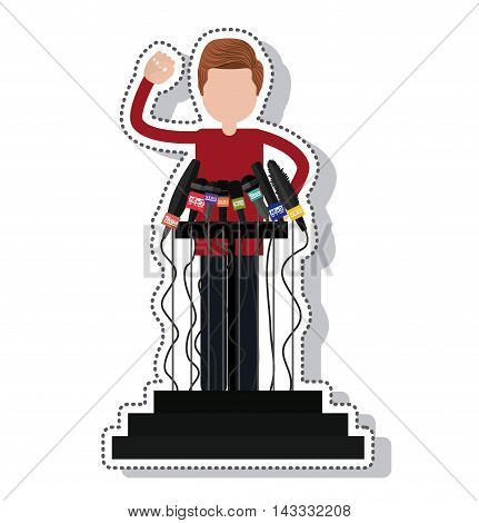 podium with microphones isolated icon vector illustration design