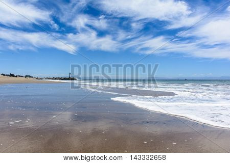 Pacific Beach With Sky Reflection