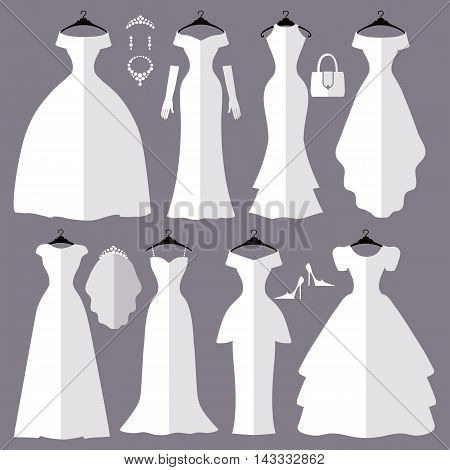 Wedding dresses in Different styles.Flat icons.Fashion bride Dress made in modern style.White dress , accessories set , silhouette.Holiday vector background.Bridal shower composition